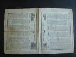 ALMANACH -CALENDRIER 2 SEMESTRIELS (Feuille Repliée) 1871  Lithotographie  Allégorie Transport- - Calendriers