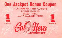 Cal Neva Lodge / Casino - Paper Jackpot Bonus Coupon - Advertising