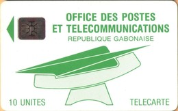 Gabon - GAB-12, (OPT), Logo Green, CN  C2A+6 Digits, Logos, 10 Units, Used As Scan - Gabon