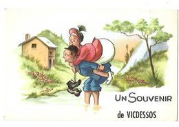 09 VICDESSOS SOUVENIR 1957 CPA 2 SCANS - Otros Municipios
