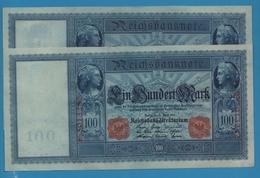 DEUTSCHES REICH LOT 2 X 100 Mark  21.04.1910Serial# E.5013282 / 83  KM# 42 - 1871-1918: Deutsches Kaiserreich