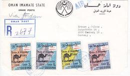 Oman 1968,Registr.cover Definitive Overprintedb Kennedy 4v.Compl.set To Germany-Scare- RED.PRICE-Skrill Only - Oman