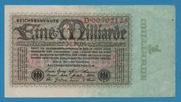 DEUTSCHES REICH 1 Milliarde Mark05.09.1923Serial# D.00702125  KM# 114 - 1918-1933: Weimarer Republik