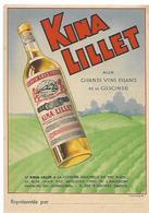 KINA LILLET QUINQUINA APERITIF CARTE PUB 145 X 100 TRES BON ETAT Carte Gironde Au Dos 2 SCANS - Alcoholes