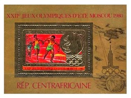 Zentralafrika / Centrafricaine: 'Olympia - Staffellauf, 1968' / 'Relay Race - Space - Gold Overprint', Mi. BL 122a** - Space