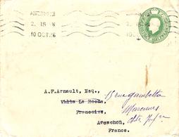1925- Envelopp E P Half Penny From Northampton To Marennes ( Char. Mar. ) - Interi Postali