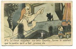 CPSM Dentelée 9 X 14 Walt Disney N° 1 Pinocchio Le Vieux Sculpteur Sur Bois Gepetto, Forme Le Souhait Que Le Pantin* - Disney