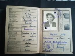 Carte D Identité Allemande Du 09.09.50 De Baden Baden - Stamps