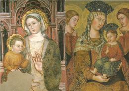 2 CARTOLINE MADONNA CON FIGLIO   (1145) - Vierge Marie & Madones