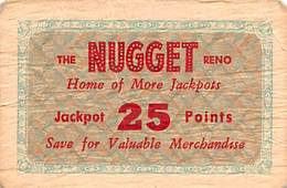Jim Kelly's Nugget Casino - Reno, NV - Paper 25 Jackpot Points Ticket   (68 X 45mm) - Casino Cards