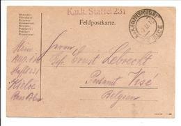 K.u.K.Etappenpostamt Kielce>Visé België 7.9.17/1.11.17-K.u.K. Staffel 231 - Briefe U. Dokumente