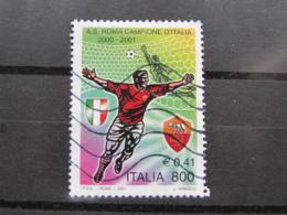 *ITALIA* USATI 2001 - SCUDETTO ROMA - SASSONE 2552 - LUSSO/FIOR DI STAMPA - 6. 1946-.. Repubblica