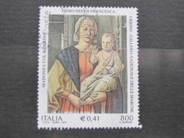 *ITALIA* USATI 2001 - PIERO DELLA FRANCESCA MADONNA - SASSONE 2550 - LUSSO/FIOR DI STAMPA - 6. 1946-.. Repubblica