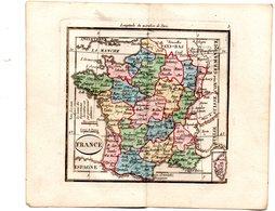 Gravure : Carte De FRANCE  En Couleurs (vers 1830) (PPP17146/ 05) - Geographical Maps