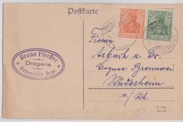 BRUNO PFEIFFER DROGERIE HOHENSTEIN OSTPREUSSEN DEUTSCHE POLEN POSTKARTE 21.03.1921 TO RÜDESHEIM OLSZTYNEK POLSKA POLAND - Preussen