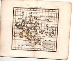 Gravure : Carte De OCEANIQUE (océan Pacifique)   En Couleurs (vers 1830) (PPP17146/32) - Mapas Geográficas