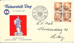 Denmark Stamp's Day Randers 10-11-1957 (Hungary Fund Stamp In Block Of 4) - Giornata Del Francobollo