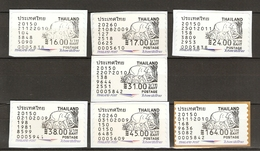 Thailande - Eléphant Et éléphanteaux - Petit Lot De 7 Vignettes D'affranchissement  ATM - Valeurs Différentes En Baht - Thaïlande