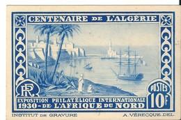 Carte Centenaire Algérie / Exposition Philatélique Internationale Afrique Du Nord + Vignette , 1930 - Algérie (1924-1962)
