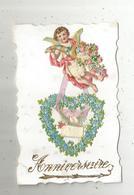 Cp, Anniversaire ,carte à Rajout , Découpis , Dentelée , Vierge , Coeur , Fleurs - Compleanni