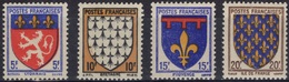 FRANCE  572 à 575 ** MNH Armoirie Blason écu Coat Of Arms Wappen Lyonnais Bretagne Provence Ile-de-France Variété 1 - France