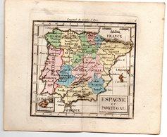 Gravure : Carte De ESPAGNE ET PORTUGAL En Couleurs (vers 1830)    (PPP17146/ 06) - Cartes Géographiques