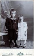 CDV Tirage Photo Albuminé Cartonné République Tchèque -  Znojmo  (Znaim) Frère & Soeur Par Paul Nather 1890/1900 - Ancianas (antes De 1900)