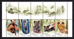 Australia 2010 Wildlife Caring - Rescue To Release Gutter Strip Of 5 MNH - 2010-... Elizabeth II