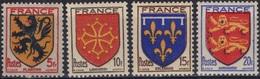 FRANCE  602 à 605 ** MNH Armoirie Blason écu Coat Of Arms Wappen Flandre Languedoc Orléanais Normandie Variété 1 - Frankreich