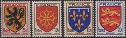 FRANCE  602 à 605 ** MNH Armoirie Blason écu Coat Of Arms Wappen Flandre Languedoc Orléanais Normandie Variété 2 - France