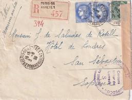 FRANCE   1939 LETTRE RECOMMANDEE CENSUREE DE PARIS AVEC CACHET ARRIVEE SAN SEBASTIAN - Postmark Collection (Covers)
