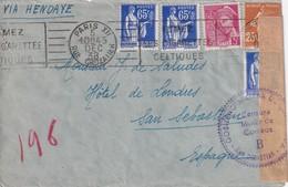 FRANCE 1938 LETTRE  CENSUREE DE PARIS POUR SAN SEBASTIAN - Postmark Collection (Covers)