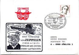 """(BWL) BRD Cachetumschlag Bundeswehr """"GRAF FERDINAND VON ZEPPELIN (1836-1917)"""" SSt 8.3.1992 FRIEDRICHSHAFEN 1 - [7] Repubblica Federale"""