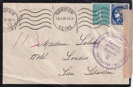 FRANCE 1939  LETTRE CENSUREE DE ST.DENIS POUR SAN SEBASTIAN - Marcophilie (Lettres)