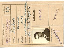 Carte D'électeur De La Ville De Paris 18ème Arrondissement De 1932 - Old Paper