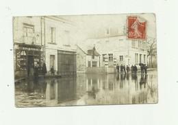 CP PHOTO - Non Situé Inondation Rue Devanture Epicerie ( Département 17 ? ) Animé état Correct - Cartes Postales