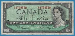 CANADA 1 Dollar1954Serial# LZ 1739559 P# 75b - Canada