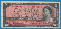 CANADA 2 Dollars1954Serial# EU 6086683  P# 76b - Canada