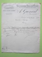 Brasserie Vins En Gros, Bières Vins Fins,Eaux-de-Vie,A.GUENARD à NEVERS (58) 28/09/1903 Courrier Facture Document - Alimentaire