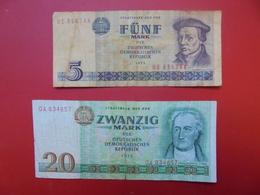 LOT 2 BILLETS DDR NEUFS Ou CIRCULER - Coins & Banknotes