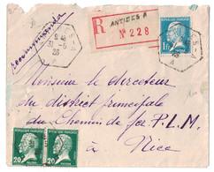 1926 - CAD HEXAGONAL De ANTIBES A (RECETTE AUXILIAIRE URBAINE) Sur LETTRE RECOMMANDÉE Pour NICE AFFRANCHIE 1F40 PASTEUR - 1921-1960: Modern Period