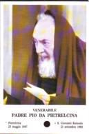 Reliquia Venerabile Padre Pio Con Foglio In Mano, Santino Pieghevole Con Preghiera - Religione & Esoterismo
