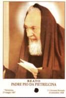 Reliquia Beato Padre Pio  Con Foglio In Mano, Santino Pieghevole Con Preghiera - Religione & Esoterismo