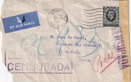 GRANDE-BRETAGNE 1937 LETTRE CENSUREE DE LONDRES POUR MADRID - Brieven En Documenten