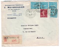 1938 - LETTRE RECOMMANDÉE De NICE PLACE GARIBALDI Pour NICE ENTETE MEYSSONNIER AFFRANCHISSEMENT 2F15 SEMEUSE - 1921-1960: Modern Period