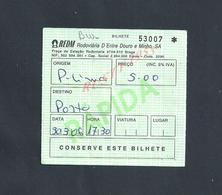 PORTUGAL TICKET DE TRANSPORT RDM VERS PORTO  : - Bus