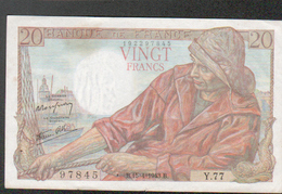 Billet 20 Francs Type Pecheur, B.15=4=1943.B, Alphabet Y77 N°97845 - 20 F 1942-1950 ''Pêcheur''