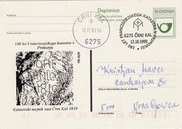 SLOVENIJA SLOVENIA DOPISNICA DOTISK  1999 ČRNI KAL  180 LET FRANCISCEJSKI KATASTER  V PRIMORJU  POSTAL STATIONERY - Slovenia