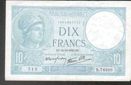 Billet 10 Francs Type Minerve, BU.19=10=1939.BU, Alphabet N74588 N°712 - 1871-1952 Antichi Franchi Circolanti Nel XX Secolo