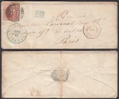 BELGIQUE COB 5 SUR LETTRE DE BRUXELLES 12/11/1849 VERS PARIS  (DD) DC-2132 - 1849-1850 Medallions (3/5)